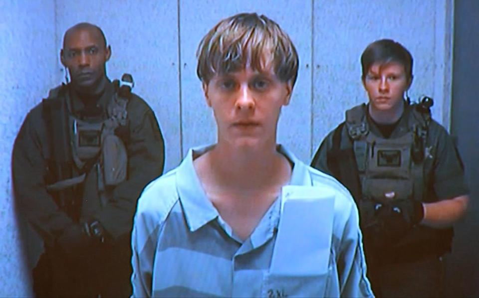 Dylann Storm Roof appeared by closed-circuit television.
